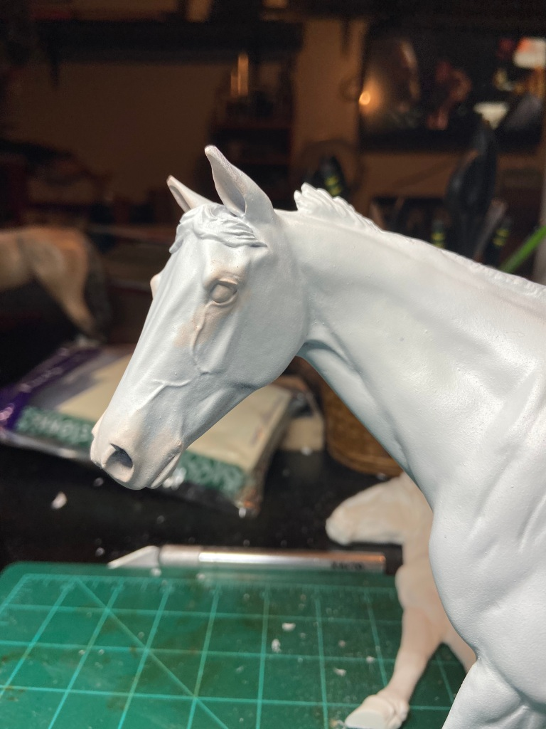 Walter Resin being pastelled to an appaloosa