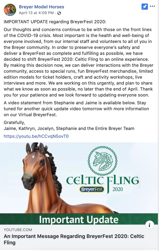 Breyer Model Horses announcement