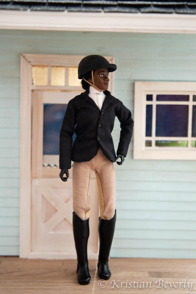 Model Horse Black Doll Rider